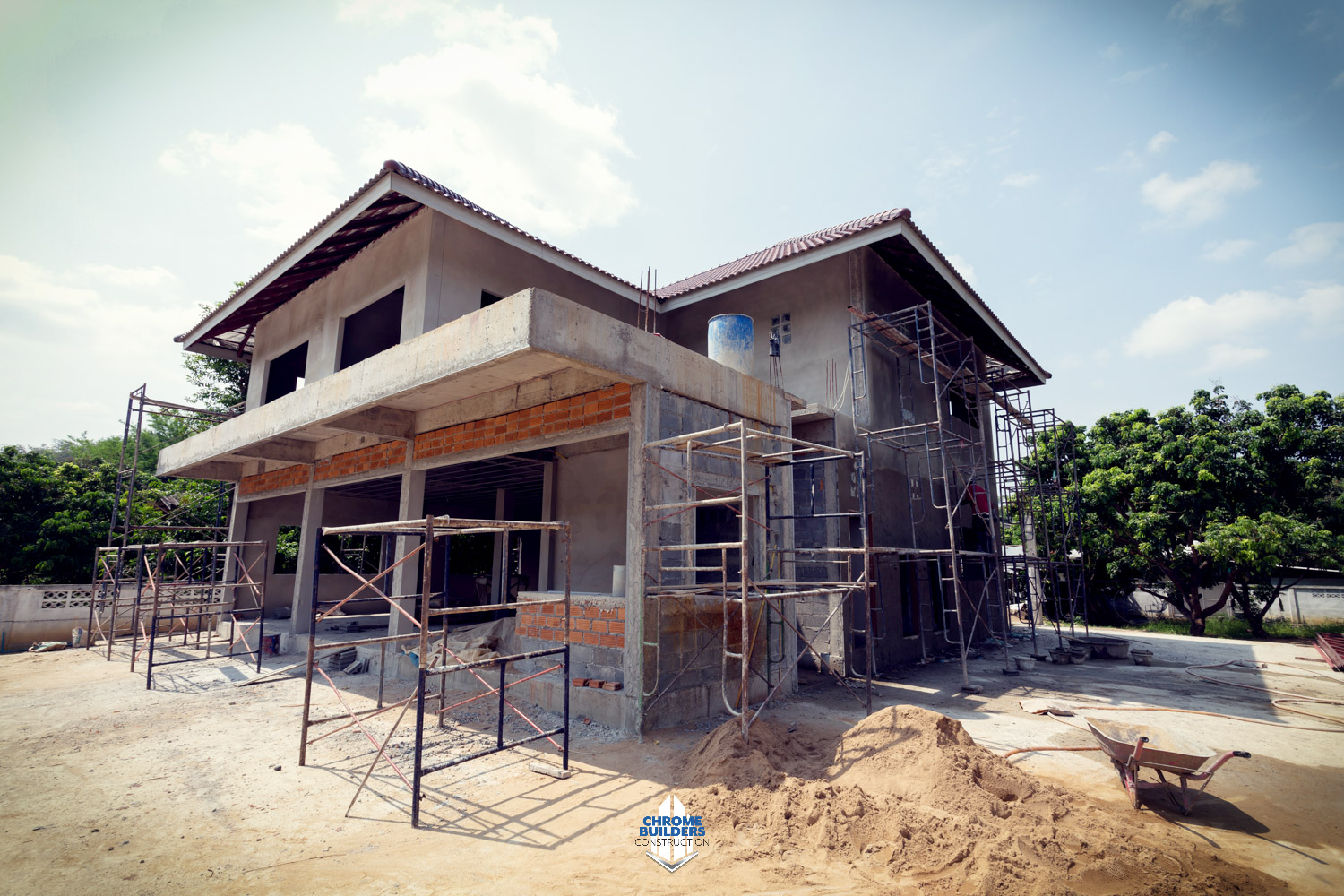 luxury home under construction stock image