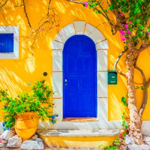 bright blue colored door